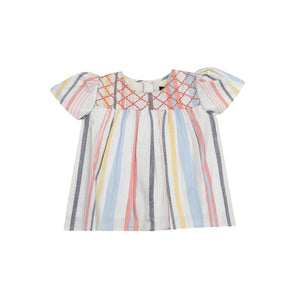 Juniper Multi Stripe Embroidered Top - Little Owly