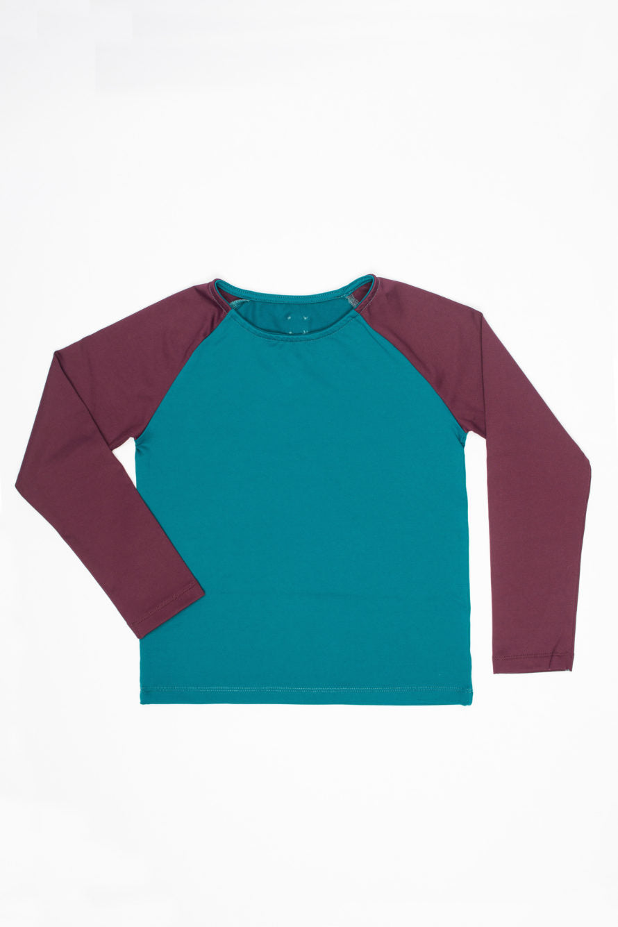 Baby Rash Guard in Dark Green and Burgandy - Little Owly