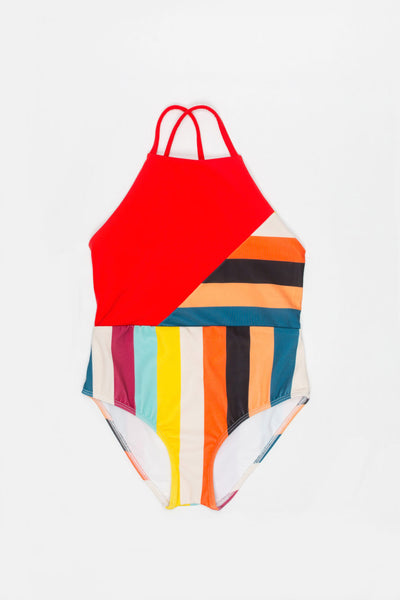 Thin Straps Multicolor Swimsuit with Red - Little Owly