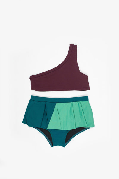 One Strap Bikini Burgundy, Dark Green & Light green - Little Owly