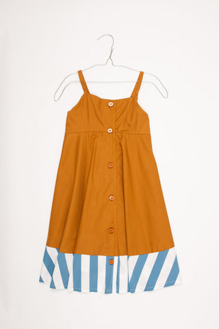 Chloe Dress with Dark Camel/White and Blue Stripes - Little Owly