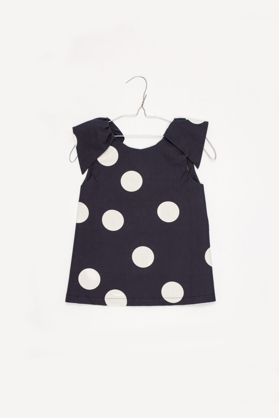 Carmen Top with Blueblack Polka dots - Little Owly