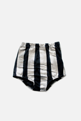 Rose Black and Silver Stripe Shorts - Little Owly