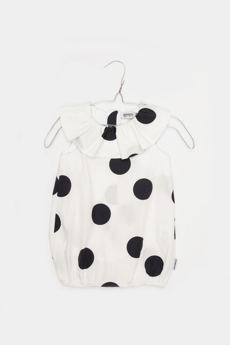 Ruffled White Romper with Black Polka Dots - Little Owly