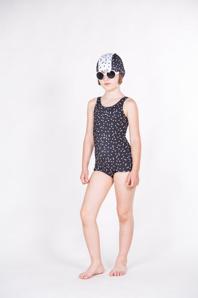 Sport Black and White Polka Dots Swimsuit - Little Owly