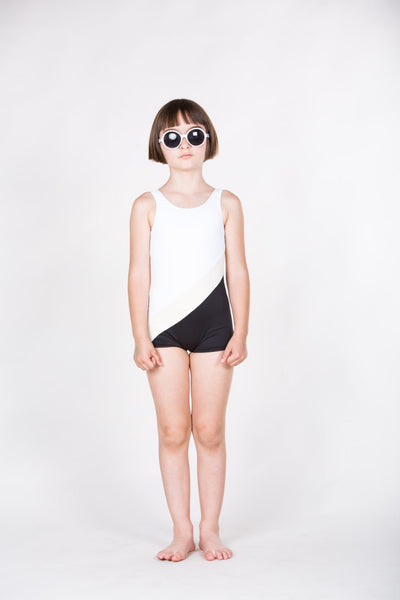Sport Swimsuit in White, Black & Beige - Little Owly