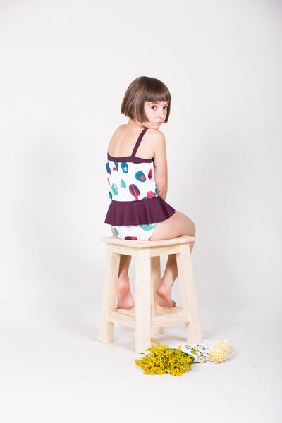 Ruffled Swimsuit with Geometric Print & Burgandy - Little Owly
