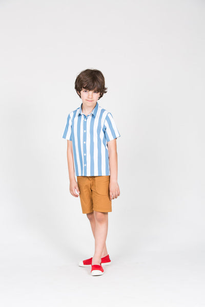 Cordoba Blue and White Stripe Shirt - Little Owly