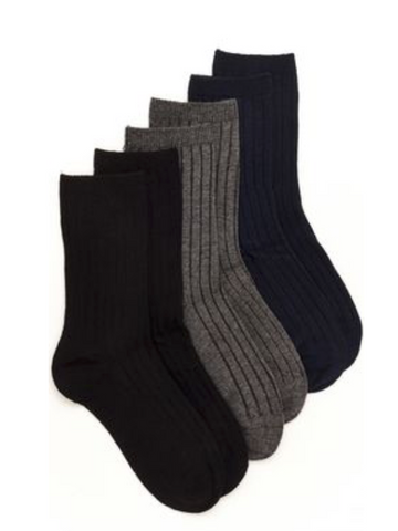 Collin Ribbed Crew socks (3-pack) - Little Owly