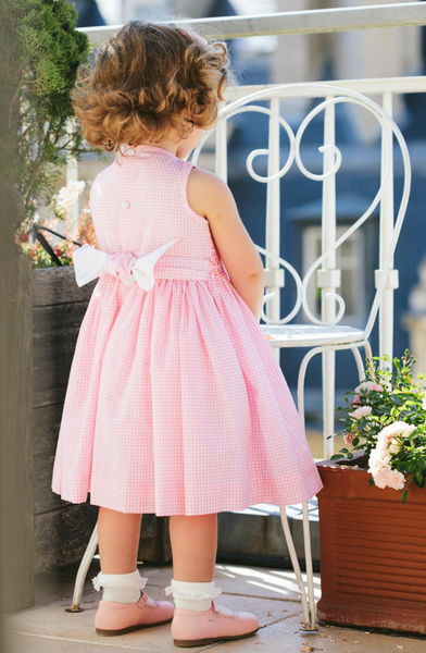 Alina Pink and White Gingham Dress - Little Owly