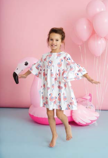 Flamingo Dress with Sleeves - Little Owly