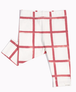 Off White and Raspberry Window Pane Legging