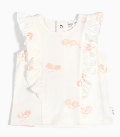 Off White Sunglasses Print Ruffled Top