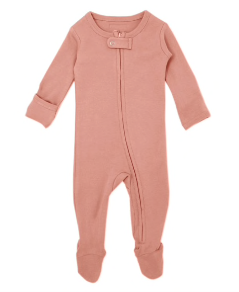Organic Zipper Footed Overall in Coral - Little Owly