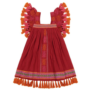 Serena Red Tassel and Embroidered Dress