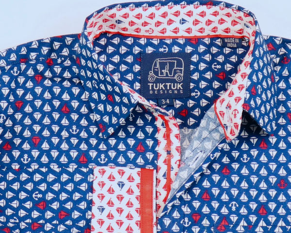 Long Sleeve Siam Sailboats Button Down Shirt - Little Owly