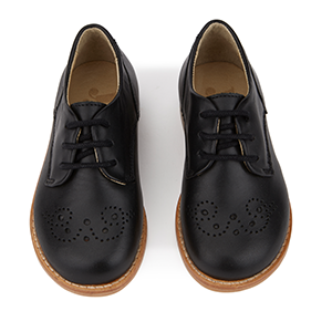 Brogue Black Baby Leather Shoe - Little Owly