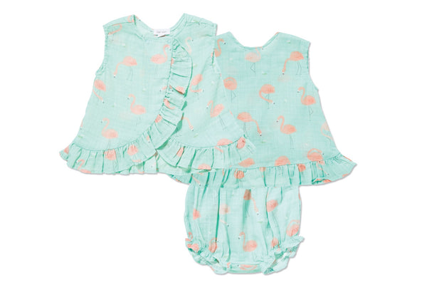 Flamingo Muslin Ruffle Back Top & Bloomer - Little Owly