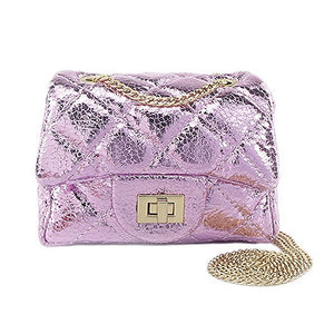 Metallic Pink Quilted Purse - Little Owly