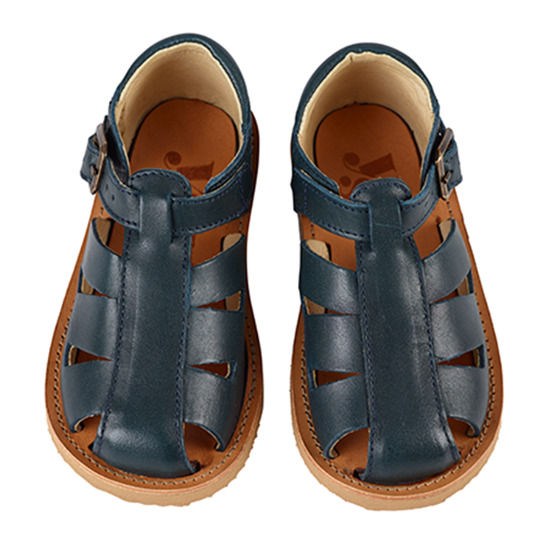 Frankie Fisherman Navy Baby Leather Shoes - Little Owly