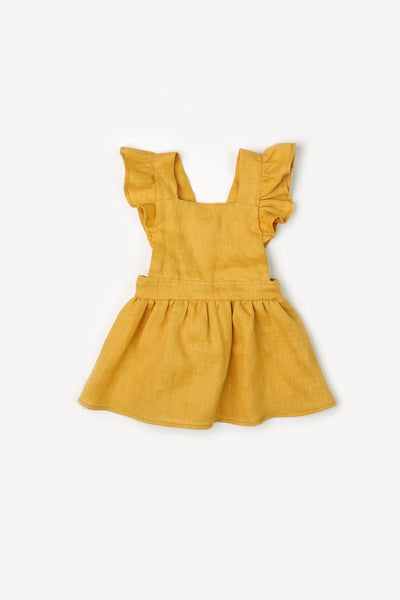 Mabel Gold Ruffle Dress - Little Owly