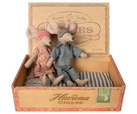 Mom & Dad Mice in Cigar Box - Little Owly