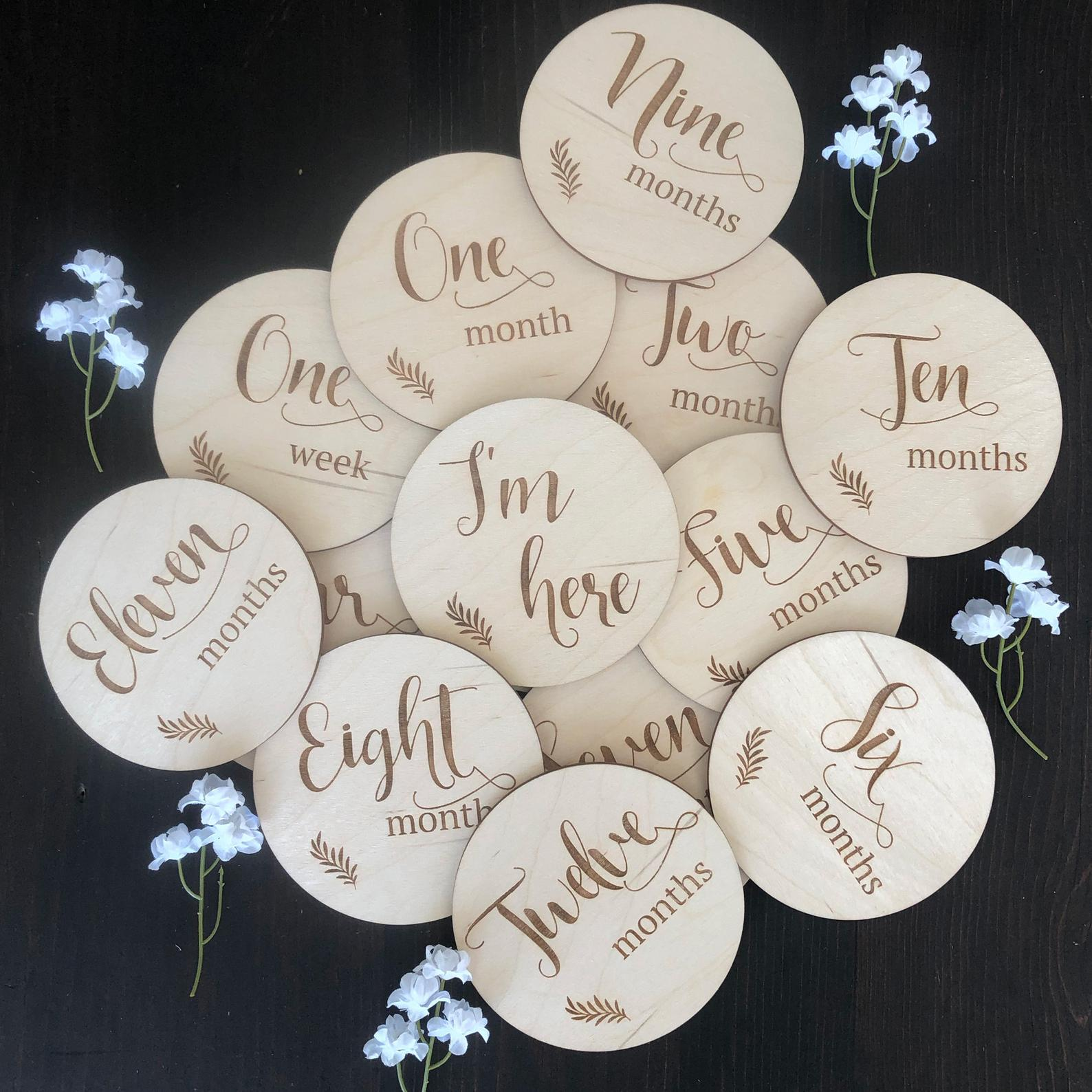 Wooden Baby Milestone Discs with Script Lettering