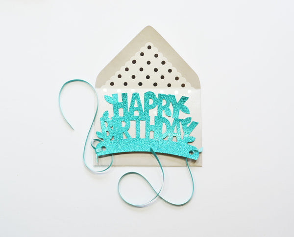 Happy Birthday Glitter Crown Card - Little Owly