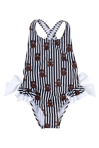 Pimenta Bears Striped One-Piece Bathing Suit