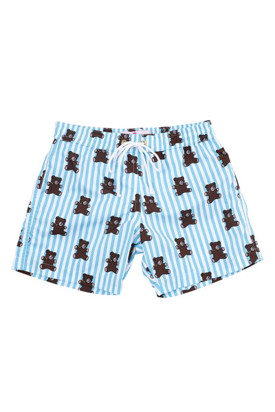 Mason Bear Stripe Boy Swim Shorts - Little Owly