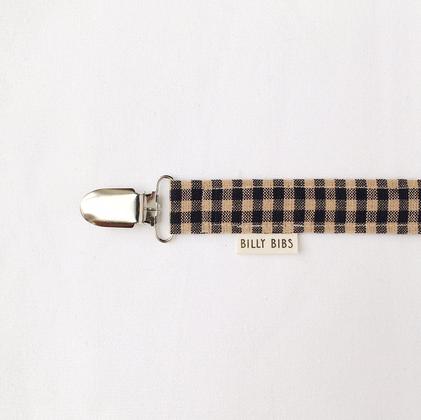 Brown Gingham Pacifier Clip - Little Owly