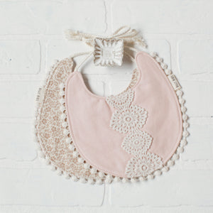 Reversible Clara Bib - Floral/Blush Pink - Little Owly