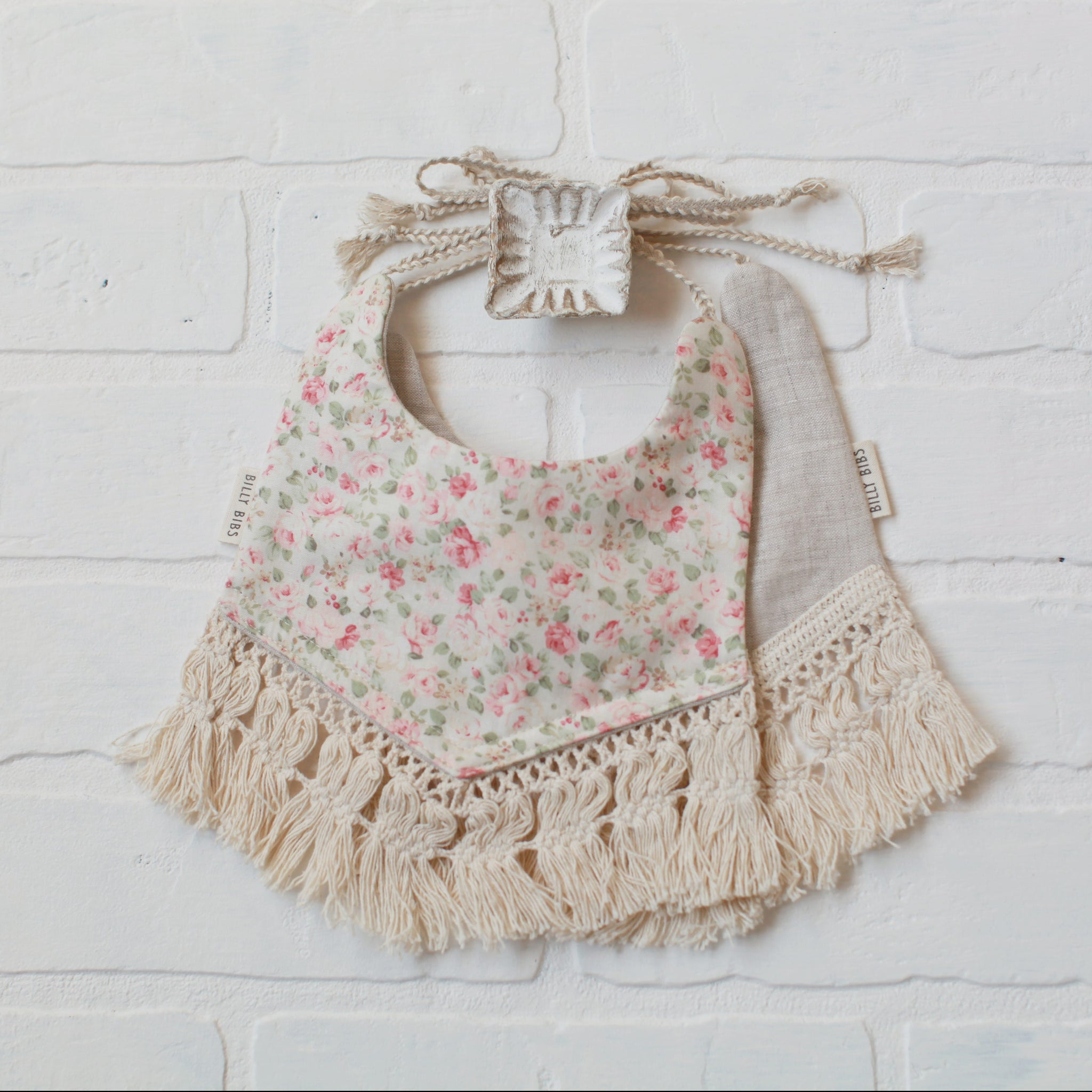 Reversible Allison Bib - Floral/Light Gray Fabric - Little Owly