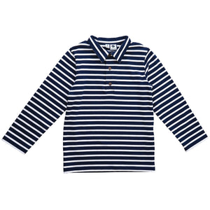 Long Sleeve Navy and White Stripe Knit Polo - Little Owly