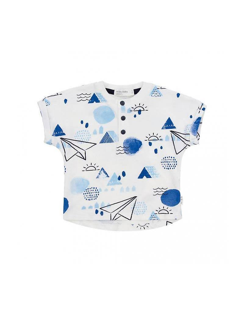 White and Blue Paper Airplane Button Neck T-Shirt