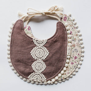 Reversible Allie Bib - Tan Floral/Plum Linen Fabric - Little Owly