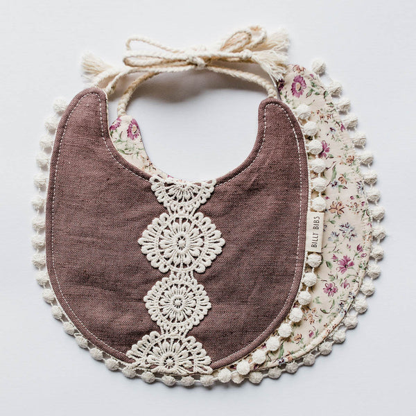 Reversible Allie Bib - Tan Floral/Plum Linen Fabric