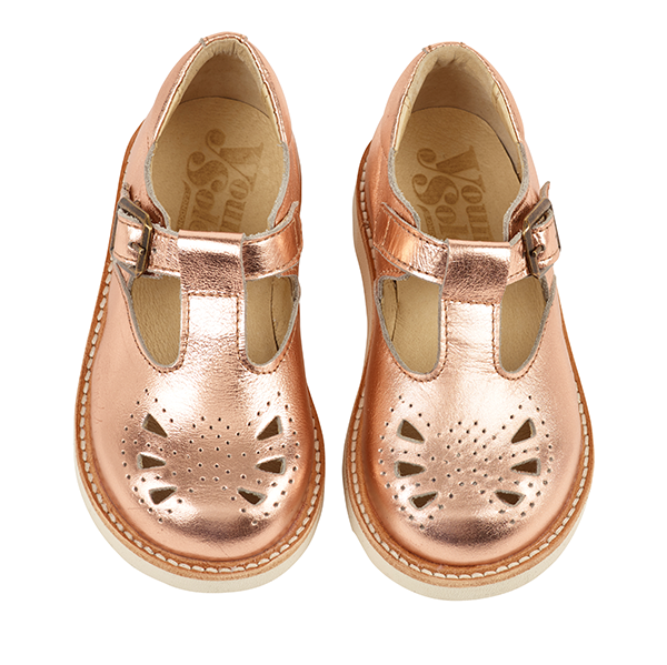 Dottie Rose Gold Child Leather T-Bar Shoes - Little Owly
