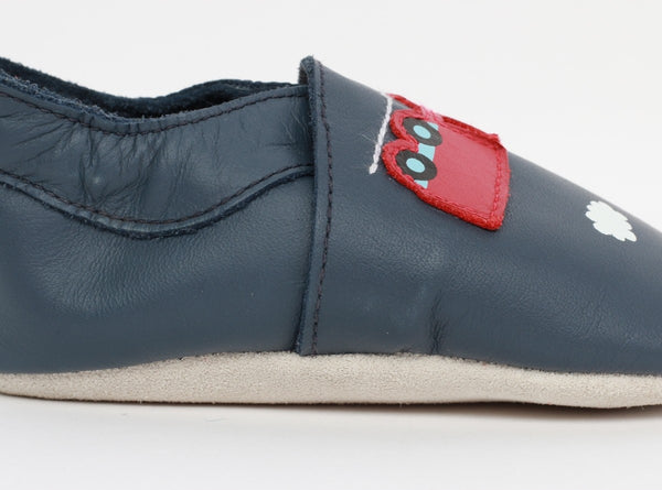 Soft Sole Navy & Train Carriage Shoes - Little Owly