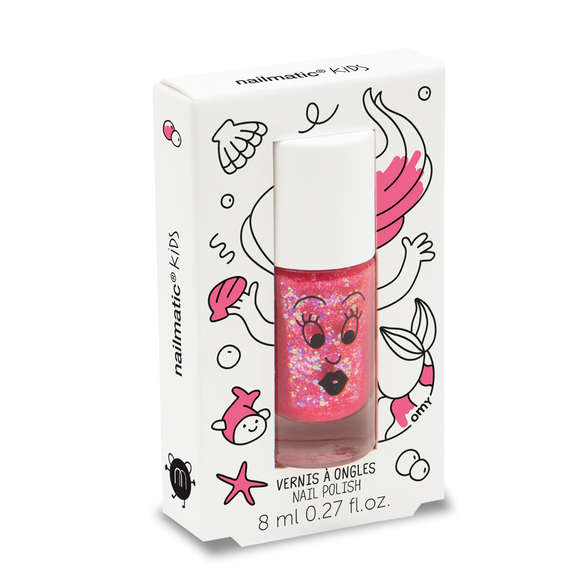 Sissi Pink Glittery Water-based Nail Polish for Kids
