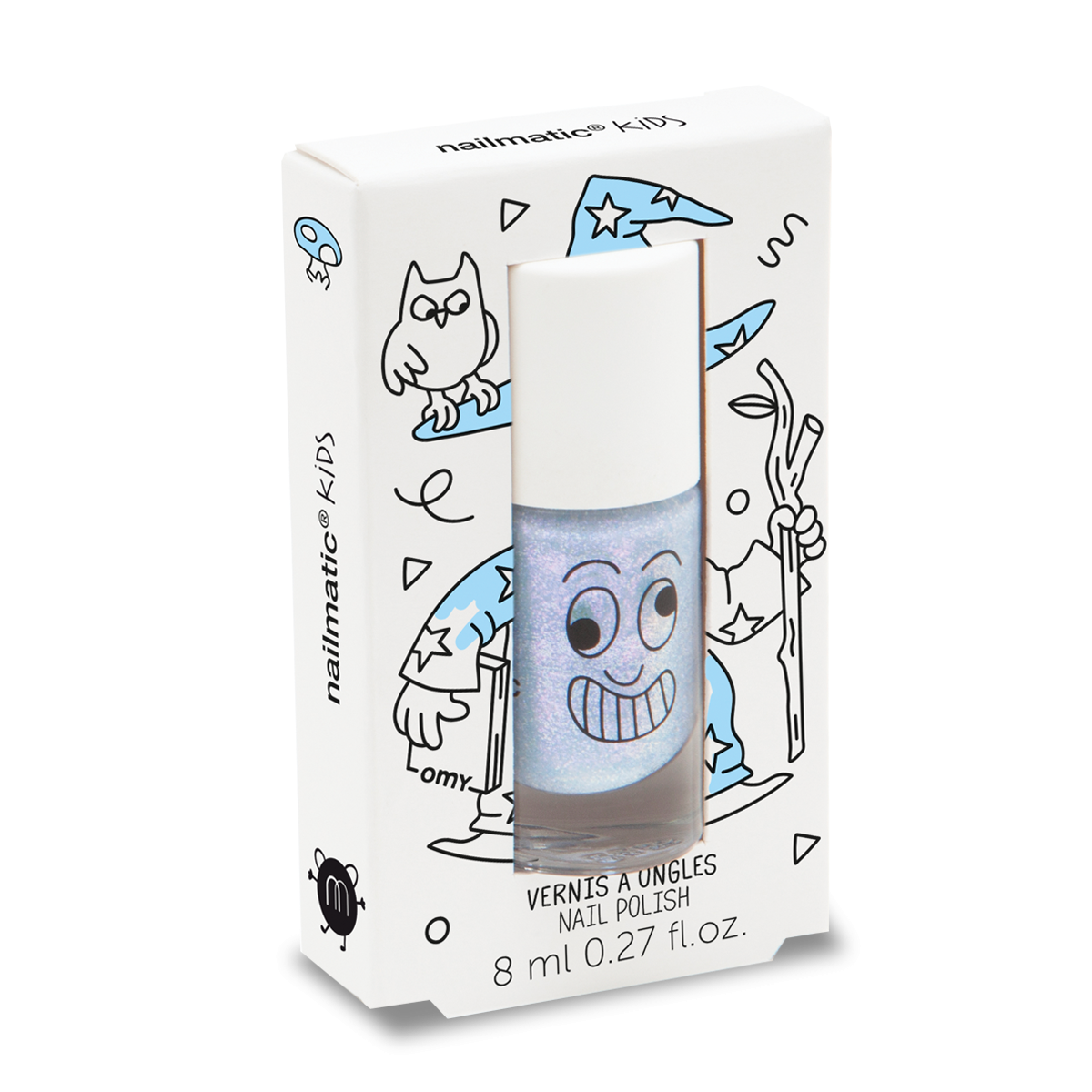 Merlin Pearly Blue Water-based Nail Polish for Kids - Little Owly
