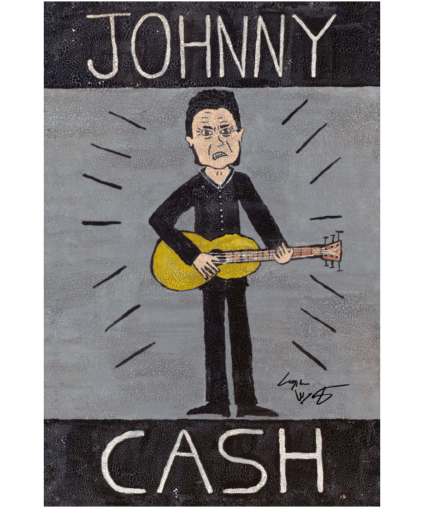 Johnny Cash Folk Art Print