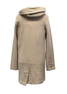 Cream Anthropologie L/S Hooded Sweater Jacket, M
