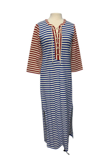 Multi J Crew 3/4 Slv Nautical Maxi Striped Dress, M