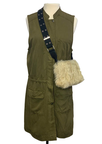 Army Green Hinge Sleeveless Long Vest, M