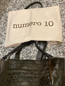 Green Numero 10 Leather Ostrich Embossed Tote, Large