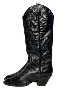 Black Larry Mahon Boot Collection Classic Cowboy Boots, 8.5
