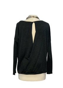Grey Eileen Fisher L/S Open Back Sweater, M