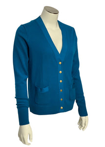 Turquoise J Crew Long-sleeved Merino Wool Cardigan, Small