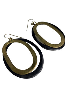Gold Unknown Oval Statement Earrings, N/S